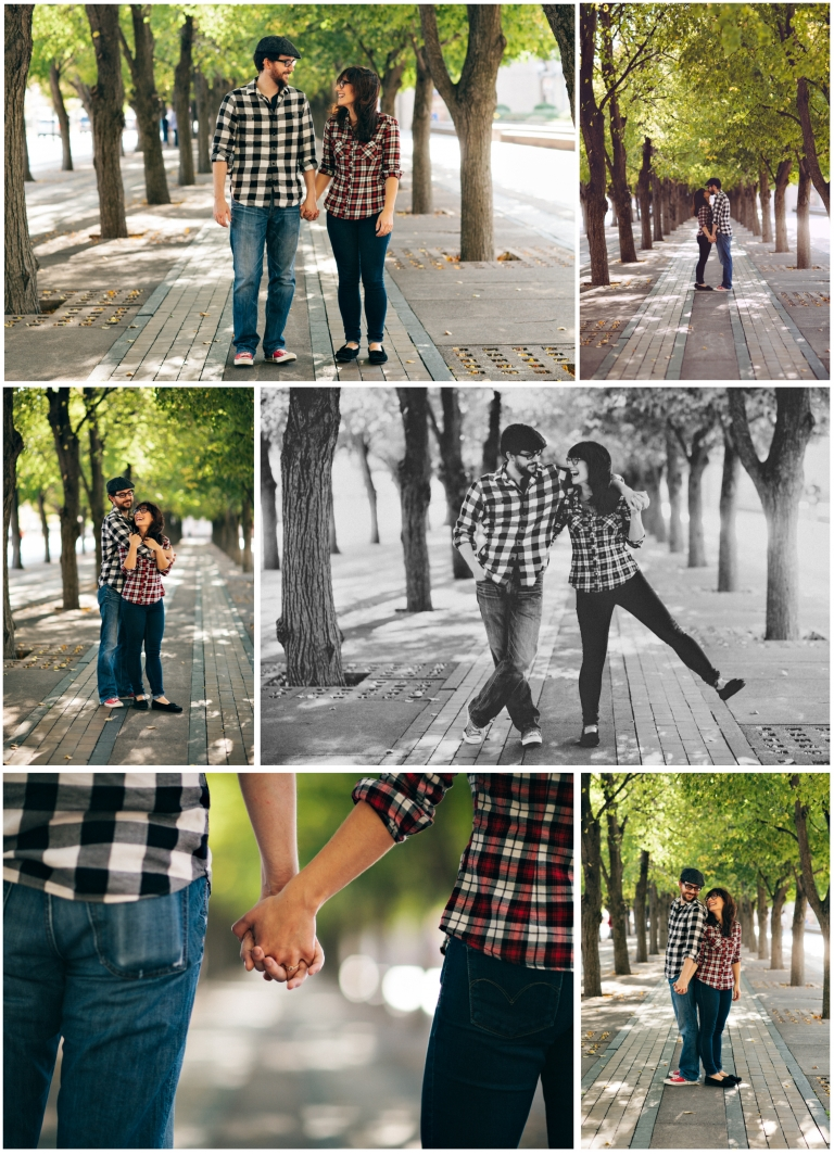 Engaged Boston couple holding hands kissing and smiling near Christian Science Center