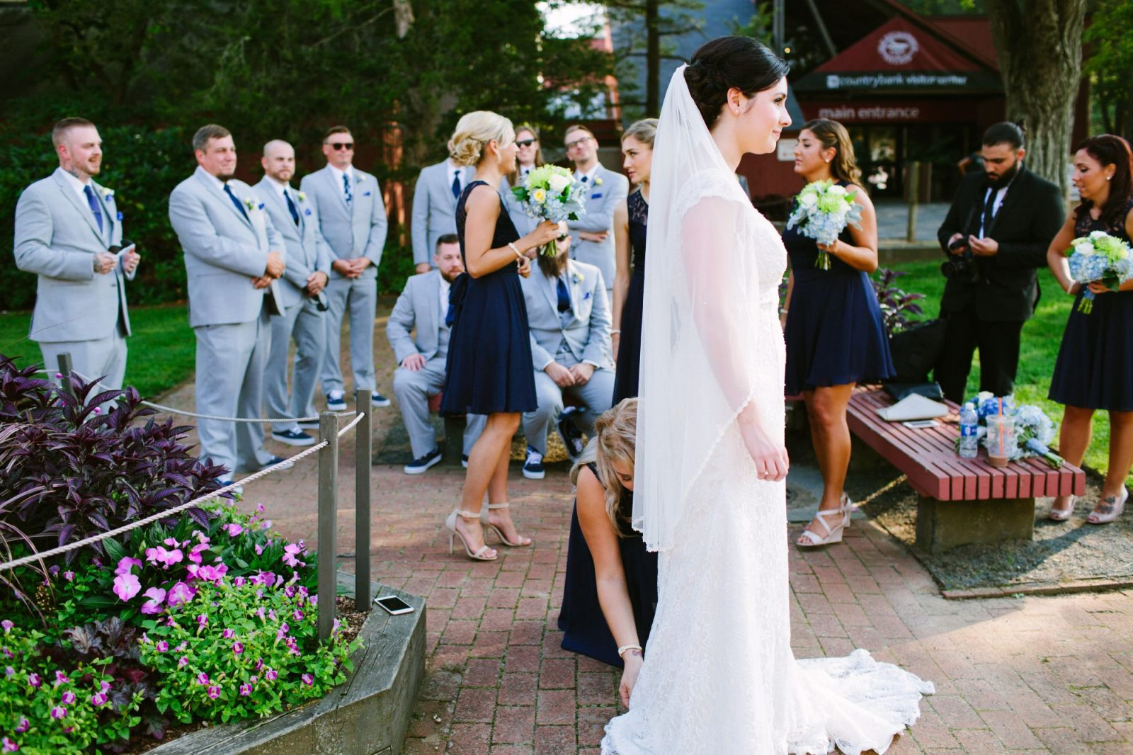 Candid photo of bridal party before wedding