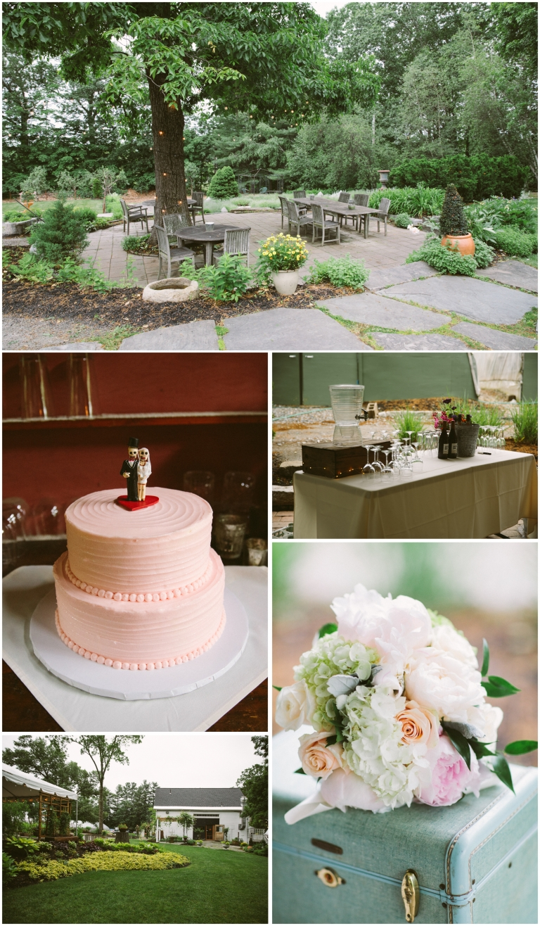 Collection of photos at the Herb Lyceum Wedding including the grounds, wedding cake and bride's pastel bouquet set on top of teal vintage luggage