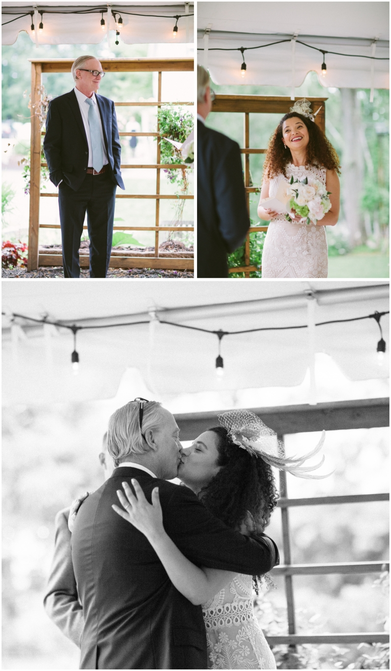 Portraits of the bride and groom as well as the first kiss at a Herb Lyceum Wedding